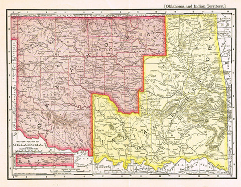 "Rand-McNally's Atlas Map - ""OKLAHOMA & INDIAN TERRITORY"" - Chromo Lithograph - 1895"