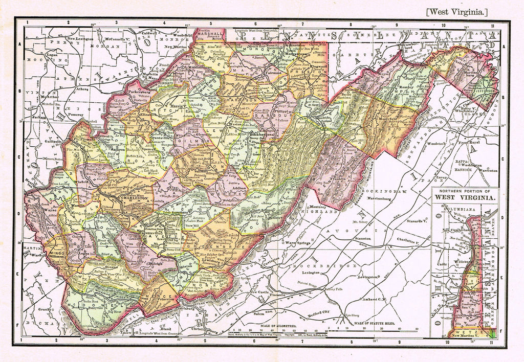 "Rand-McNally's System Map - ""WEST VIRGINIA"" - Chromo Lithogrpah - 1895"