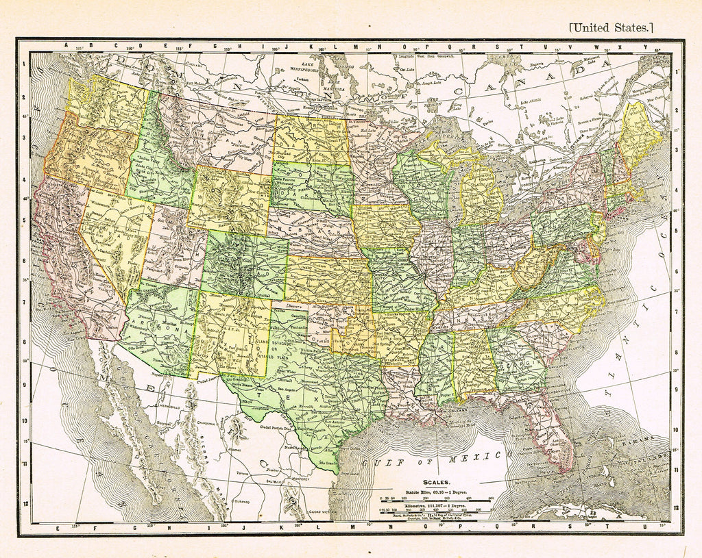 "Rand-McNally's Atlas Map - ""UNITED STATES"" - Chromo Lithogrpah - 1895"