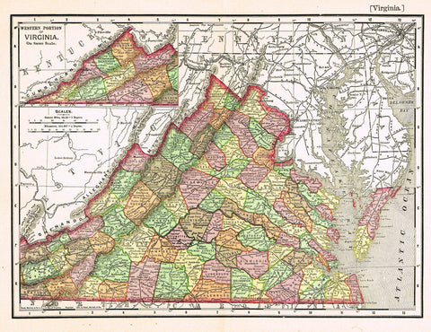 "Rand-McNally's Atlas Map - ""VIRGINIA"" - Chromo Lithogrpah - 1895"