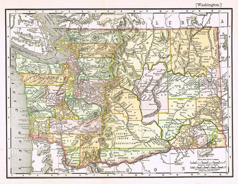 "Rand-McNally's Atlas Map - ""WASHINGTON"" - Chromo Lithogrpah - 1895"