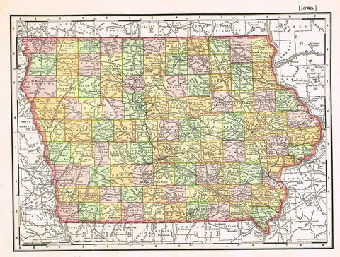 "Rand-McNally's Atlas Map - ""IOWA"" - Chromo Lithogrpah - 1895"