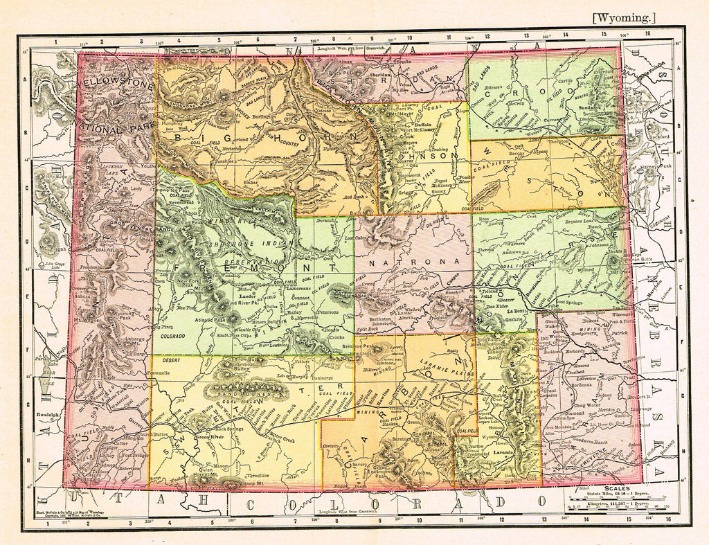 "Rand-McNally's Atlas Map - ""WYOMING"" - Chromo Lithogrpah - 1895"