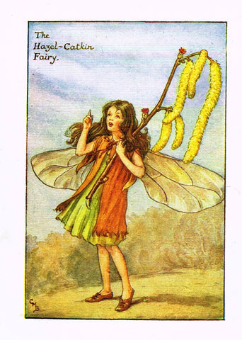 "Cicely Barker's Fairy Print - ""THE HAZEL CATLIN FAIRY"" - Children's Lithogrpah - c1935"