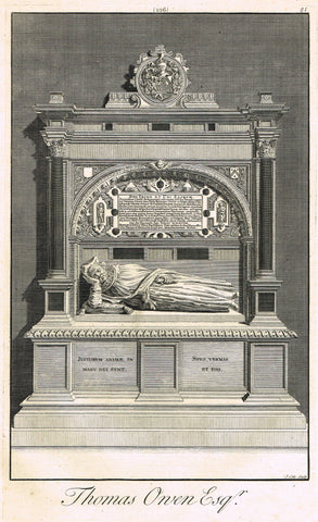 "Dart's Westminster Abbey Tomb - ""THOMAS OWEN, ESQ."" - Copper Engraving - 1723"