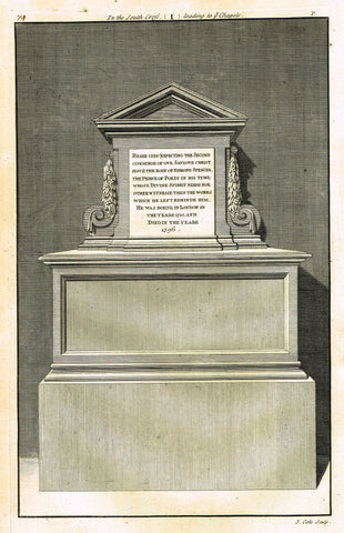 "Dart's Westminster Abbey Tomb - ""EDMUND SPENCER, THE PRINCE OF POETS"" - Copper Engraving - 1723"