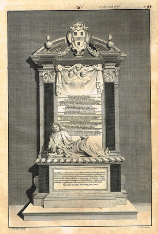 "Dart's Westminster Abbey Tomb - ""ROBERTUS SOUTH S.T.P."" - Copper Engraving - 1723"