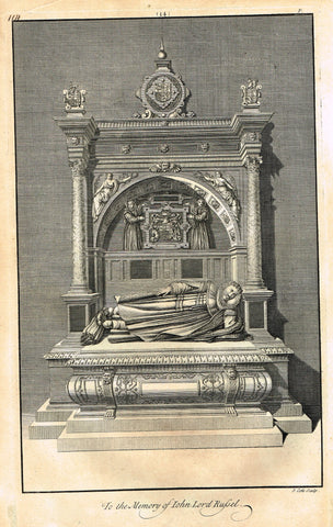 "Dart's Westminster Abbey Tomb - ""JOHN LORD RUSSEL"" - Copper Engraving - 1723"