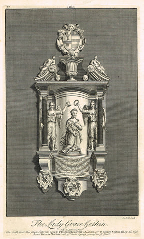 "Dart's Westminster Abbey Tomb - ""THE LADY GRACE GETHIN"" - Copper Engraving - 1723"