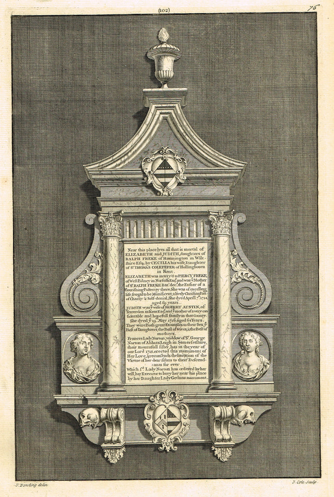 "Dart's Westminster Abbey Tomb - ""ELIZABETH & JUDITH FREKE"" - Copper Engraving - 1723"