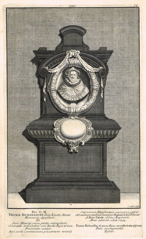 "Dart's Westminster Abbey Tomb - ""THOMAS RICHARDSON"" - Copper Engraving - 1723"