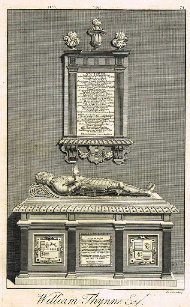 "Dart's Westminster Abbey Tomb - ""WILLIAM THYNNE, ESQ."" - Copper Engraving - 1723"