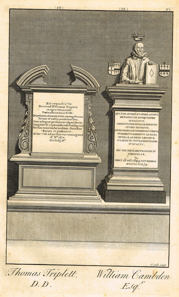"Dart's Westminster Abbey Tomb - ""THOMAS TRIPLETT & WILLIAM CAMBDEN"" - Copper Engraving - 1723"