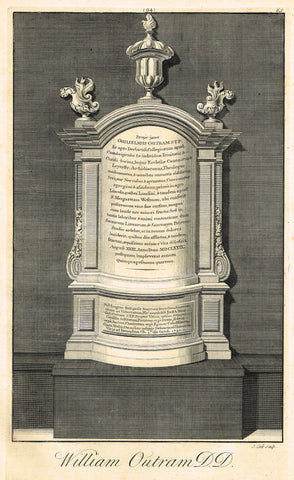 "Dart's Westminster Abbey Tomb - ""WILLIAM OUTRAM, D.D."" - Copper Engraving - 1723"