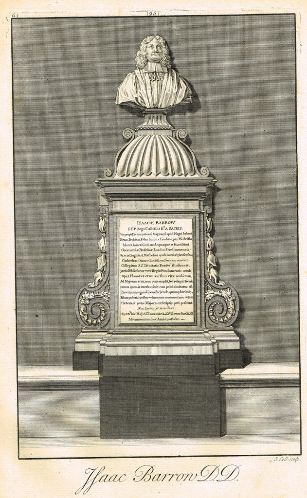 "Dart's Westminster Abbey Tomb - ""ISAAC BARRON, D.D."" - Copper Engraving - 1723"