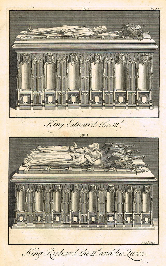 Dart's Tomb - KING EDWARD III & KING RICHARD II & QUEEN - Copper Engraving - 1723