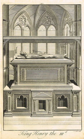 "Dart's Westminster Abbey Tomb - ""KING HENRY III"" - Copper Engraving - 1723"