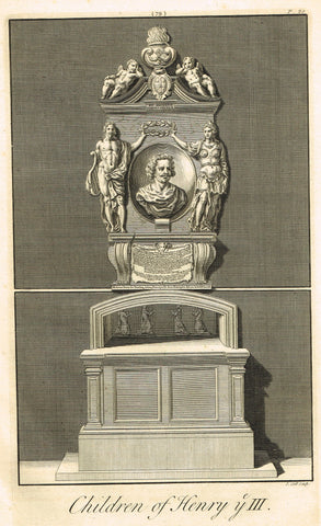 "Dart's Westminster Abbey Tomb - ""CHILDREN OF HENRY III"" - Copper Engraving - 1723"