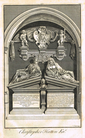 "Dart's Westminster Abbey Tomb - ""CHRISTOPHER HATTON"" - Copper Engraving - 1723"