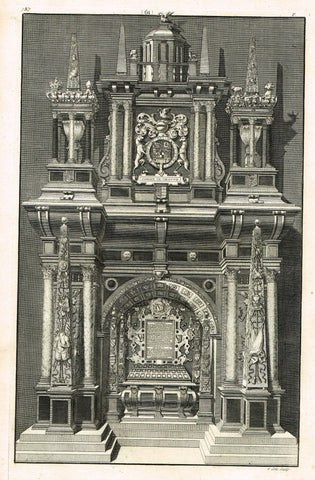 "Dart's Westminster Abbey Tomb - ""HENRY CAREY"" - Copper Engraving - 1723"