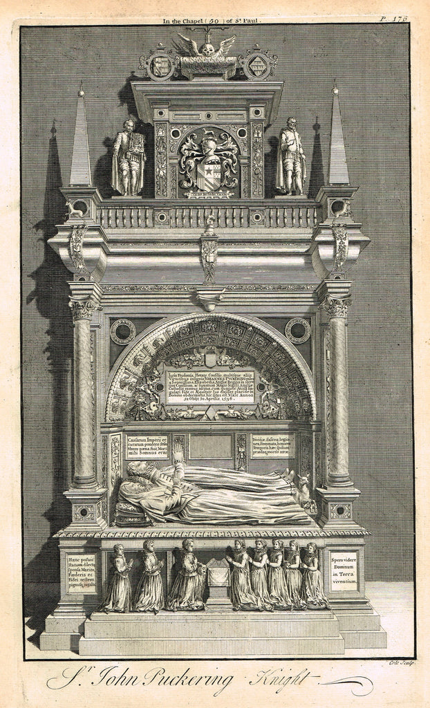 "Dart's Westminster Abbey Tomb - ""SIR JOHN PUCKERING, KNIGHT"" - Copper Engraving - 1723"