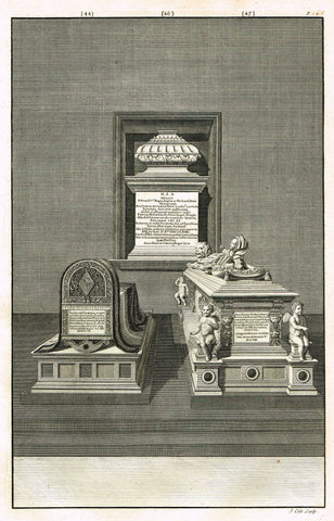 "Dart's Westminster Abbey Tomb - ""SOPHIA & MARIA DAUGHTERS OF EDWARD V"" - Copper Engraving - 1723"