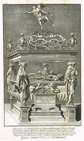 "Dart's Westminster Abbey Tomb - ""LEWIS STUART, DUKE OF RICHMOND"" - Copper Engraving - 1723"