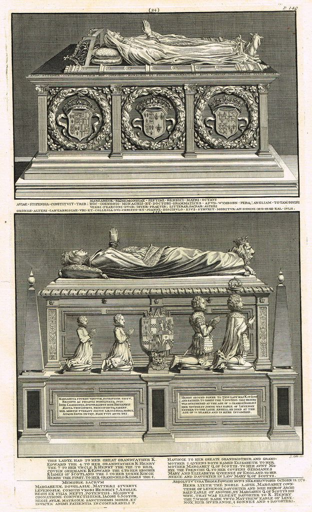 "Dart's Westminster Abbey Tomb - ""MARGARET OF RICHMOND"" - Copper Engraving - 1723"