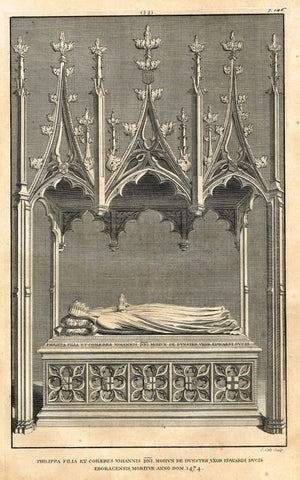 "Dart's Westminster Abbey Tomb - ""LADY PHILIPPA"" - Copper Engraving - 1723"