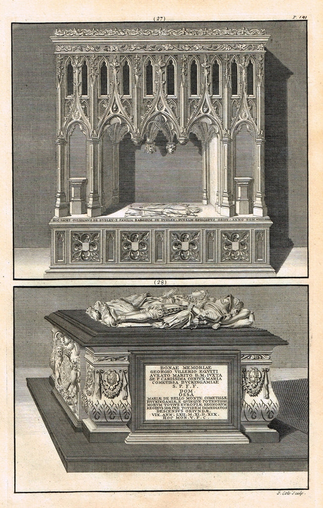 "Dart's Westminster Abbey Tomb - ""WILLIAM OF DUDLEY & GEORGE VILLARS"" - Copper Engraving - 1723"