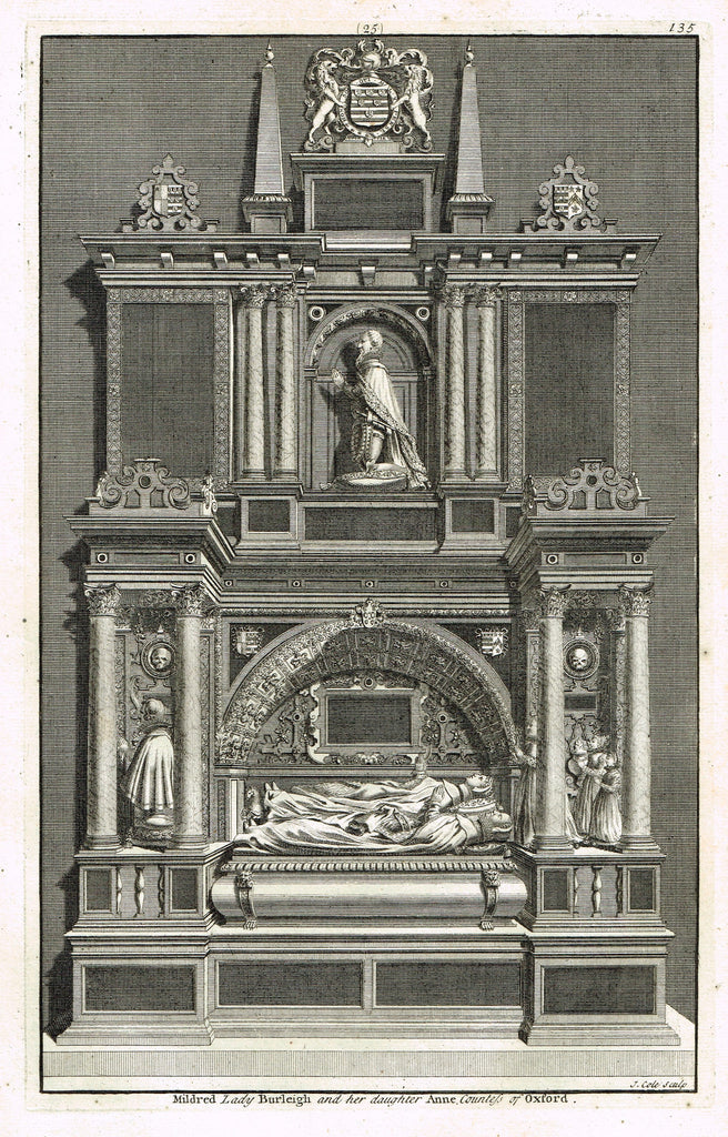 "Dart's Westminster Abbey Tomb - ""MILDRED LADY BURLEIGH & DAUGHTER"" - Copper Engraving - 1723"