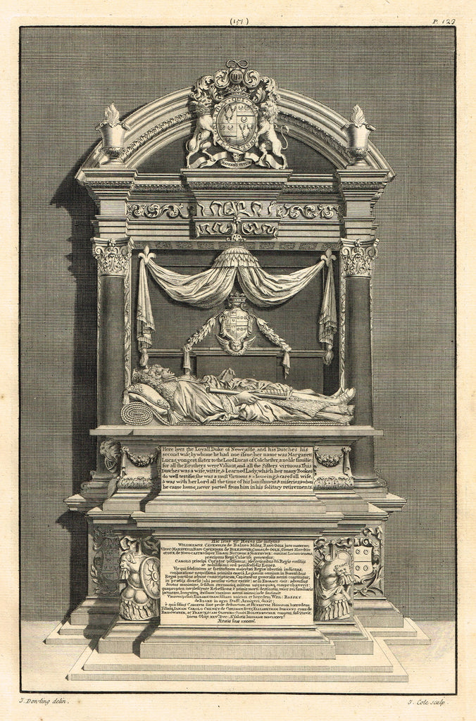 "Dart's Westminster Abbey Tomb - ""DUKE OF NEWCASTLE"" - Copper Engraving - 1723"