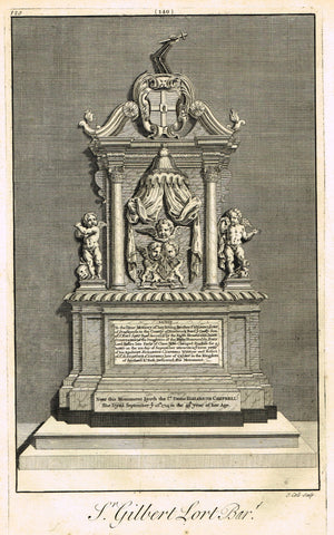 "Dart's Westminster Abbey Tomb - ""SIR THOMAS HESKETT"" - Copper Engraving - 1723"