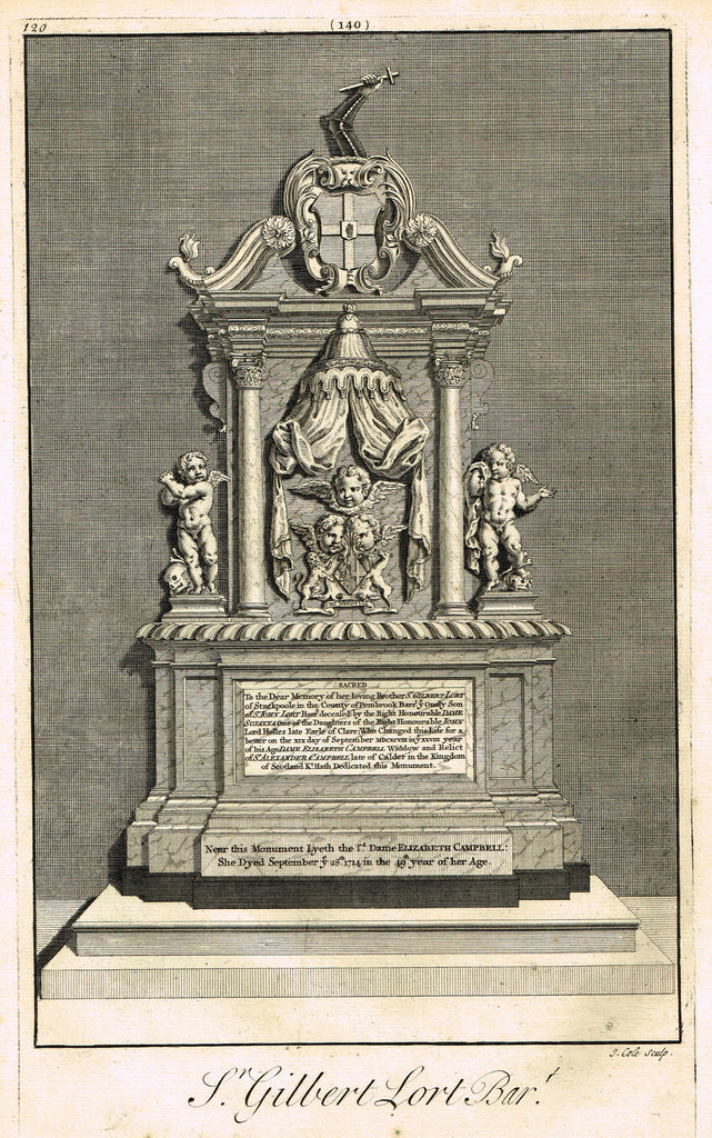 "Dart's Westminster Abbey Tomb - ""SIR GILBERT LORT OF STACKPOOLE"" - Copper Engraving - 1723"