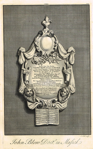 "Dart's Westminster Abbey Tomb - ""JOHN BLOW, DOCTOR IN MUSIC"" - Copper Engraving - 1723"