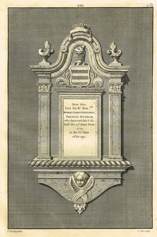 "Dart's Westminster Abbey Tomb - ""ROBERT LORD CONSTABLE"" - Copper Engraving - 1723"
