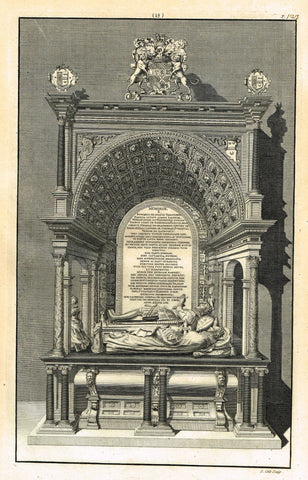 "Dart's Westminster Abbey Tomb - ""EDWARD TALBOT, EARL"" - Copper Engraving - 1723"