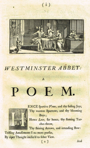 "Dart's Westminster Abbey Tomb - ""WESTMINSTER ABBEY - A POEM"" - Copper Engraving - 1723"