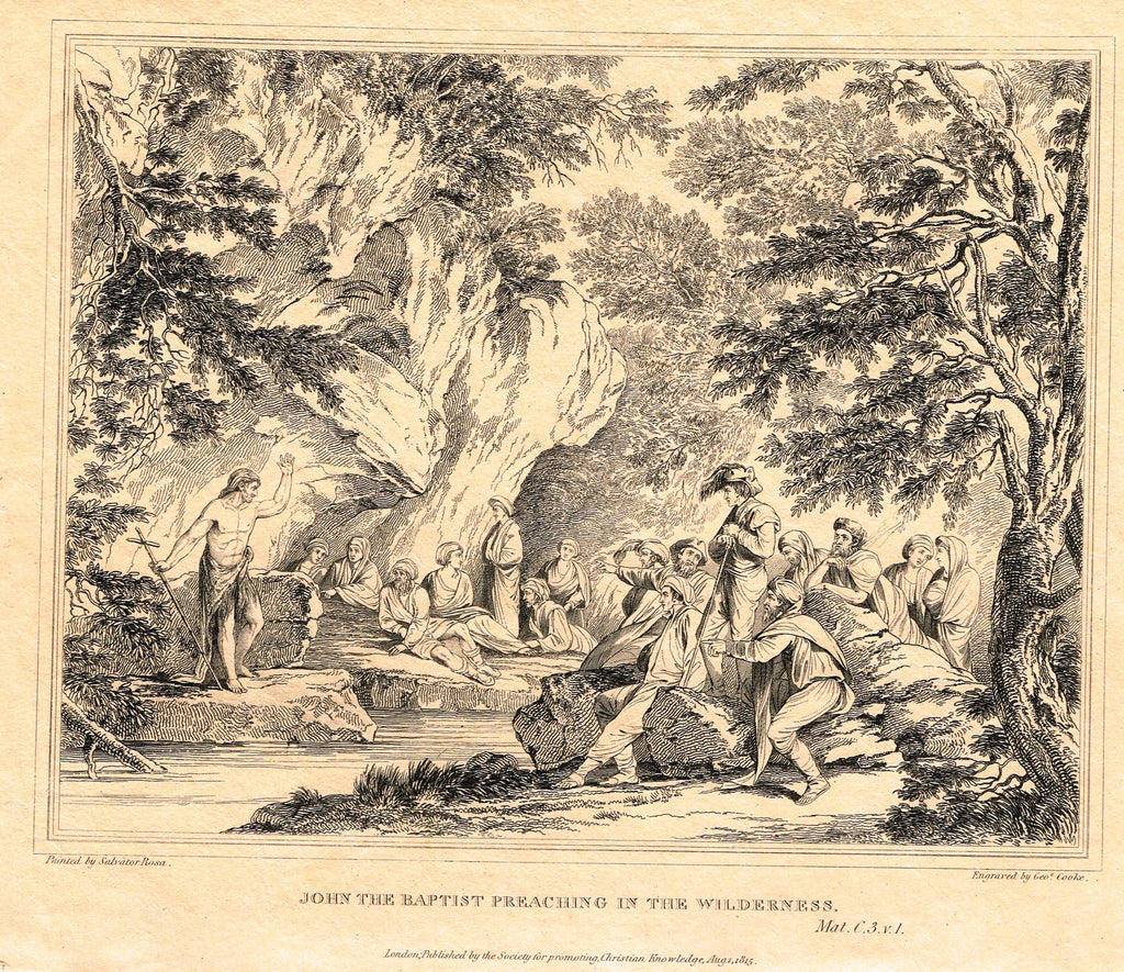 Antique Print - JOHN THE BAPTIST PREACHING IN THE WILDERNESS  - Engraving - 1814