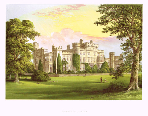 "Morris's County Seats - ""HAWARDEN CASTLE"" - Chromolithograph - 1866"