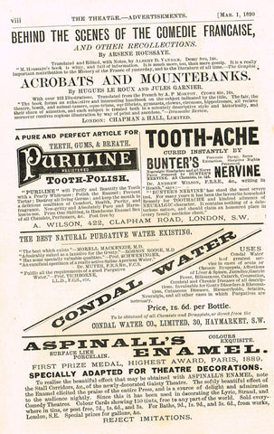 "Antique Advertising Ephemera -  ""CONDAL WATER"" - Lithograph - 1875-94"