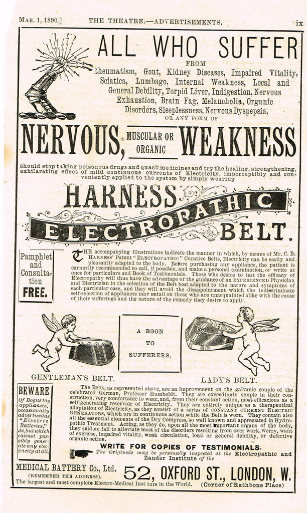 "Antique Advertising Ephemera -  ""HARNESS ELECTROPATHIC BELT"" - Lithograph - 1875-94"