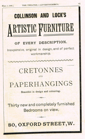 "Antique Advertising Ephemera -  ""COLLINSON & LOCK'S ARTISTIC FURNITURE"" - Lithograph - 1875-94"