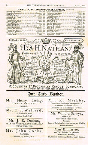 "Antique Advertising Ephemera -  ""L. & H. NATHAN COSTUMIERS"" - Lithograph - 1875-94"