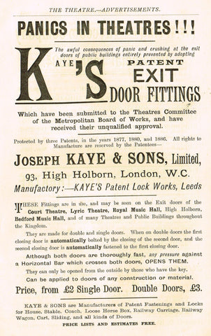 "Antique Advertising Ephemera -  ""KAYE'S PATENT EXIT DOOR FITTINGS"" - Lithograph - 1875-94"