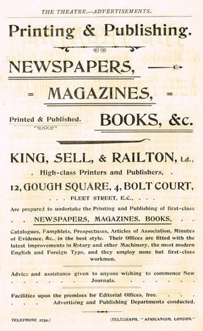 "Antique Advertising Ephemera -  ""KING, SELL & RAILTON PRINTERS"" - Lithograph - 1875-94"