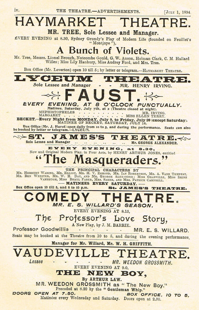 "Antique Advertising Ephemera -  ""THEATRE PERFORMANCE ADS"" - Lithograph - 1875-94"