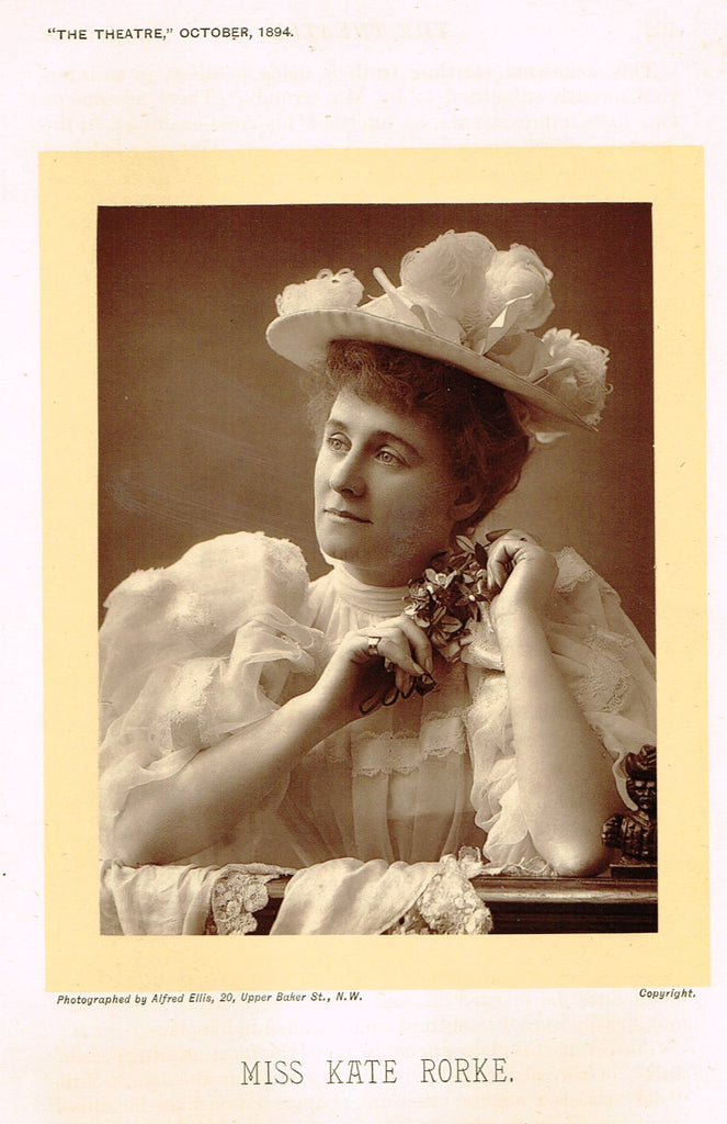 "Antique Theatre Photographs -  ""MISS KATE RORKE"" - Black & White Photos - 1875-94"