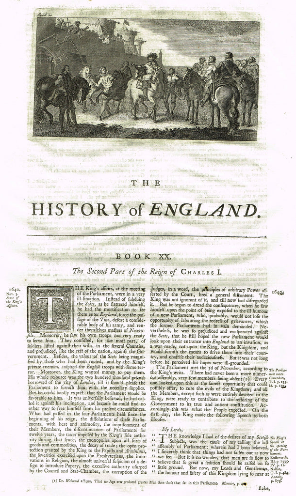 "Rapin's History of England ""THE REIGN OF CHARLES I - Part 2"" - Copper Engraving - 1743"