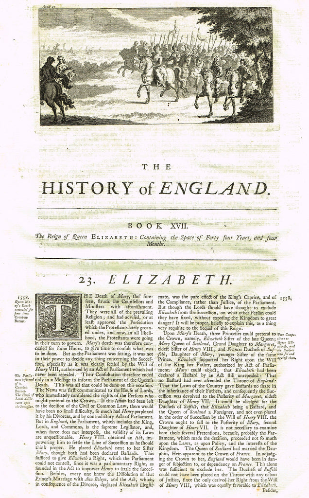 "Rapin's History of England ""THE REIGN OF ELIZABETH"" - Copper Engraving - 1743"